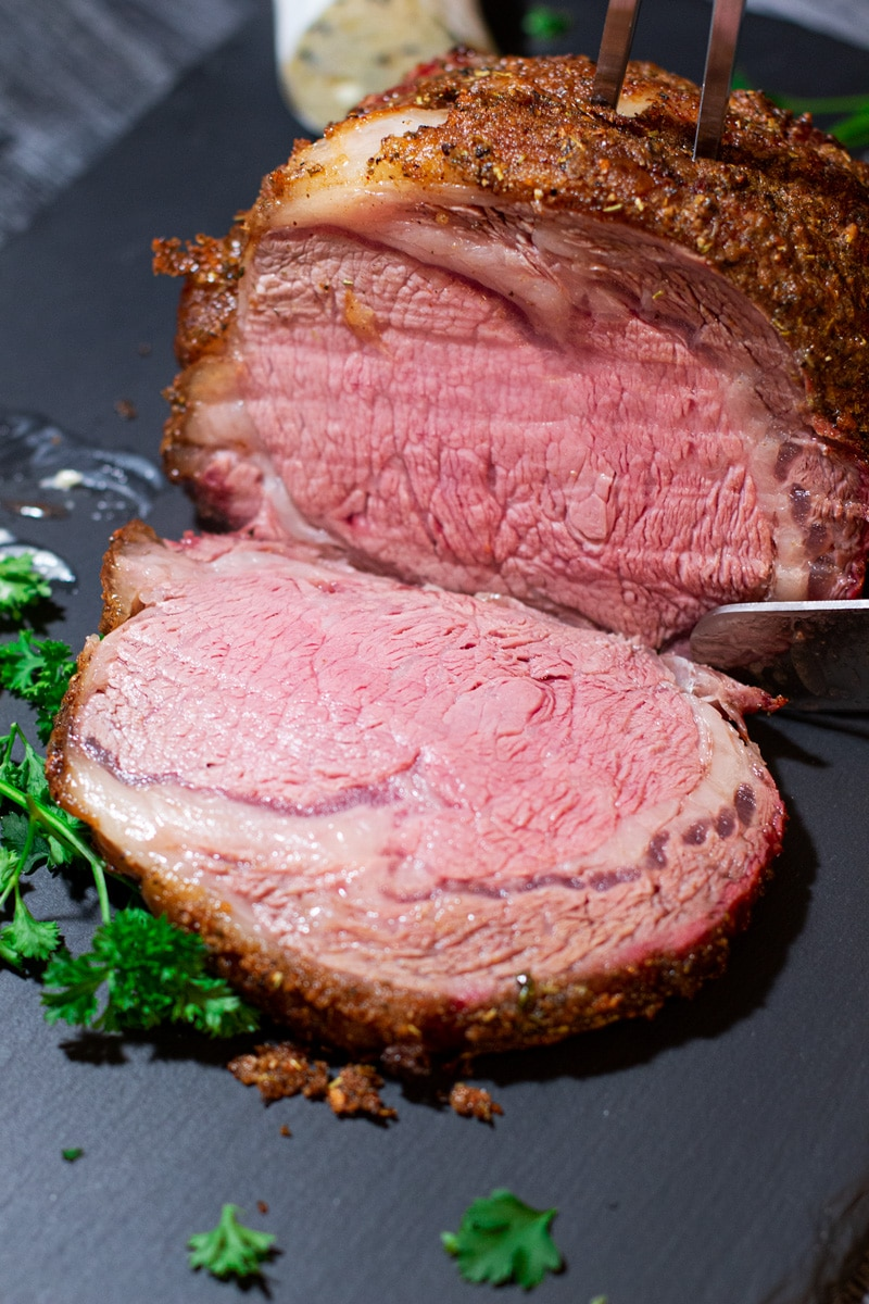 Sliced boneless prime rib roast.
