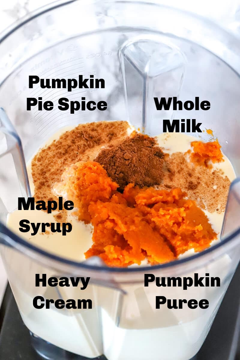 Pumpkin puree, milk, syrup, cream, and fall spices in a blender.