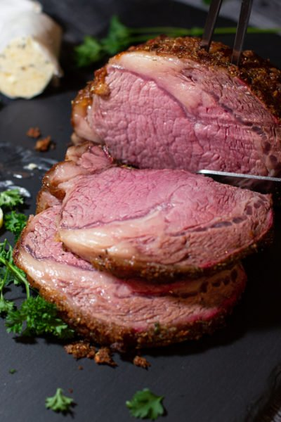 Smoked Prime Rib with Garlic Herb Compound Butter