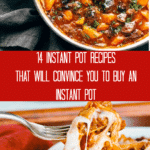 Instant Pot beef stew and a bowl of pasta being picked up with a fork.