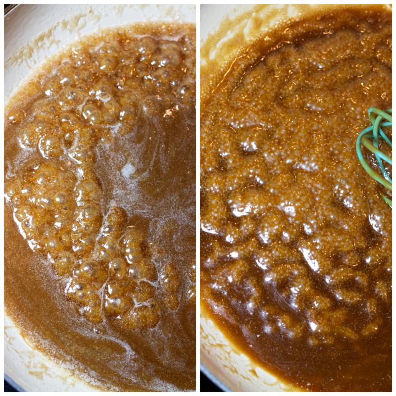 Making homemade caramel sauce in a saucepan.