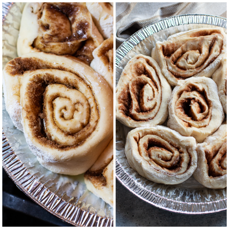 Individual rolled cinnamon rolls in a metal round pan.
