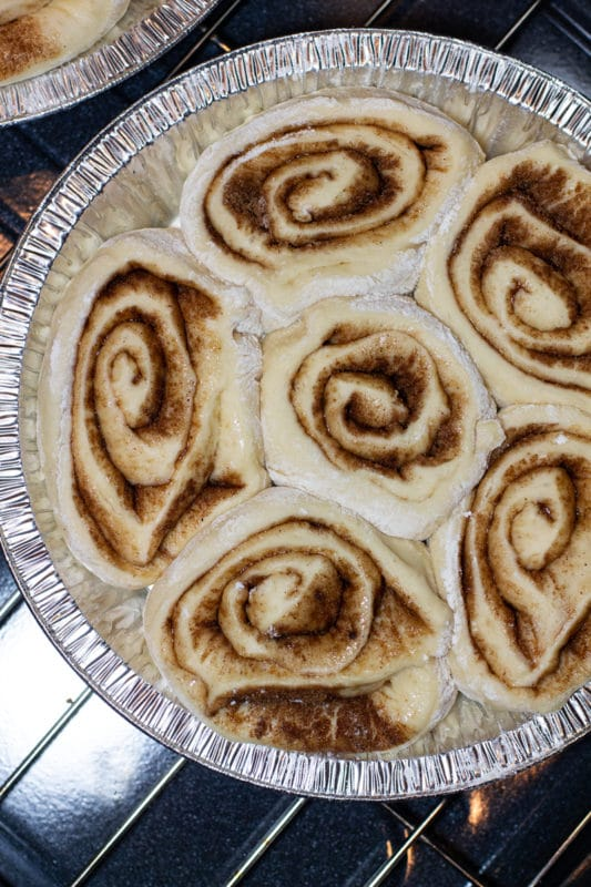 Pan filled with cinnamon rolls waiting to rise and bake.