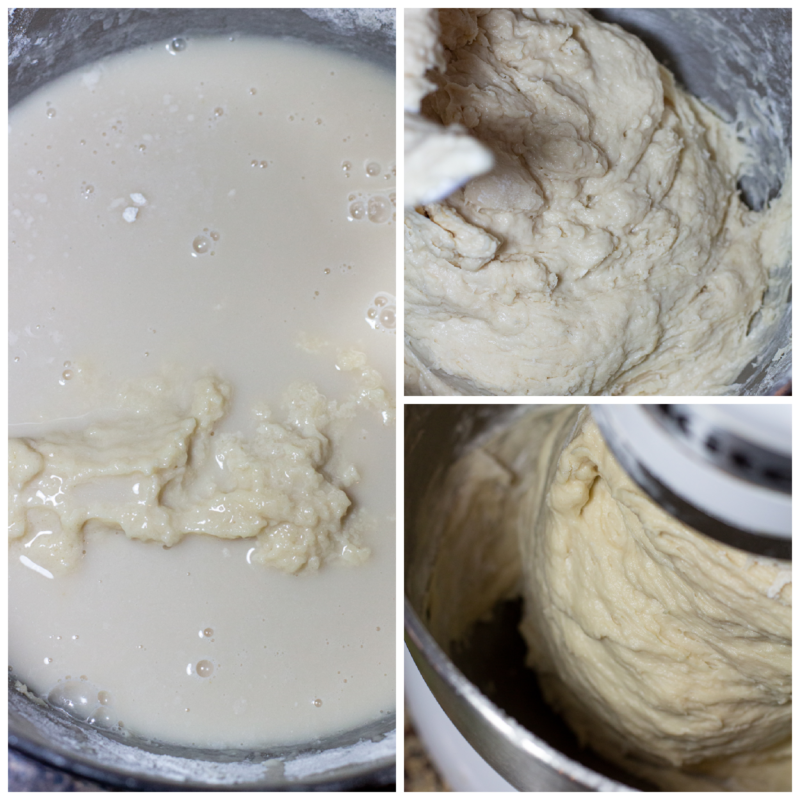 Water and dough being mixed in a standing mixer to make cinnamon rolls.