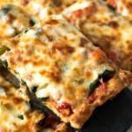 keto pizza on a spatula.