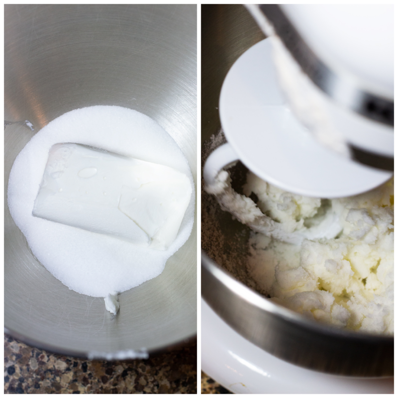 Crisco and sugar in a mixing bowl being mixed with a standing mixer.