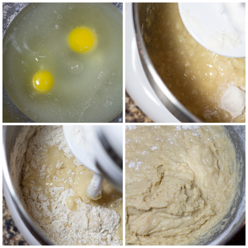 Eggs being added to a bowl of dough and flour being added to the mixture.