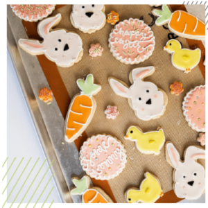 Easter cookies on a cookie sheet.