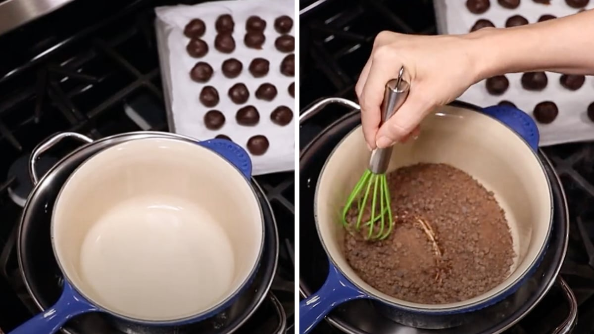 Double broiler filled with water and person melting chocolate.