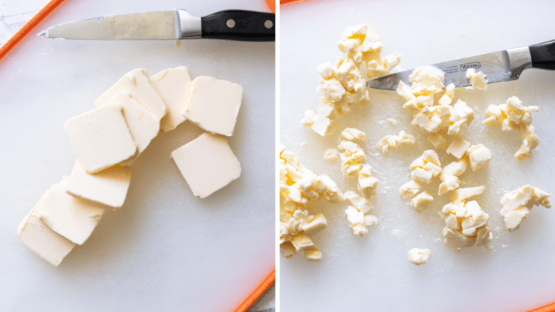 Vegan butter being chopped on a cutting board.