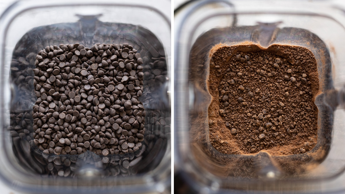 Blender containing whole and chopped chocolate chips.