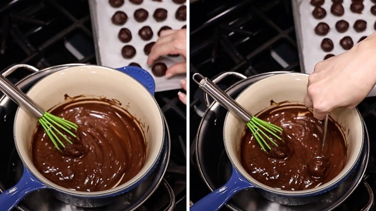 Person dipping truffle balls into melted chocolate.