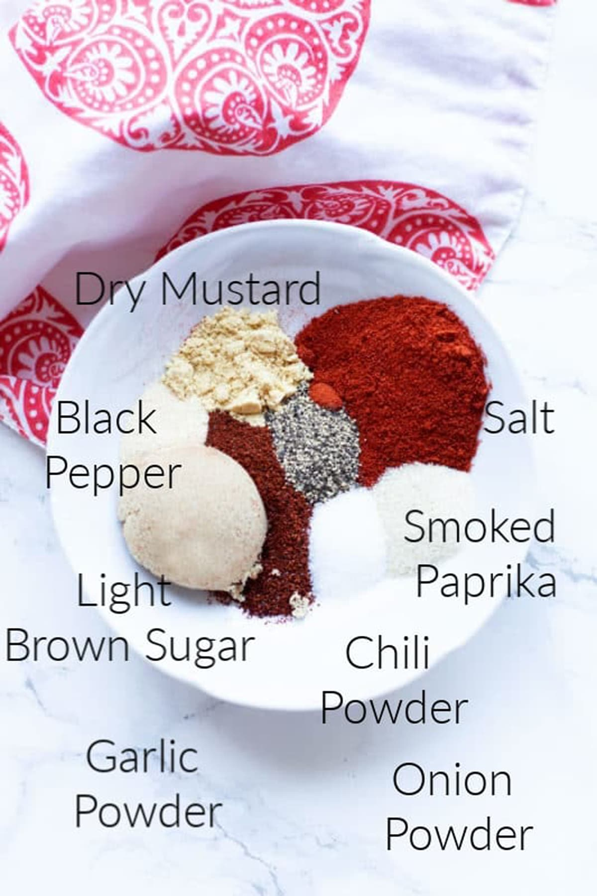 chili powder, smoked paprika, brown sugar and other spices to make a rib dry rub.