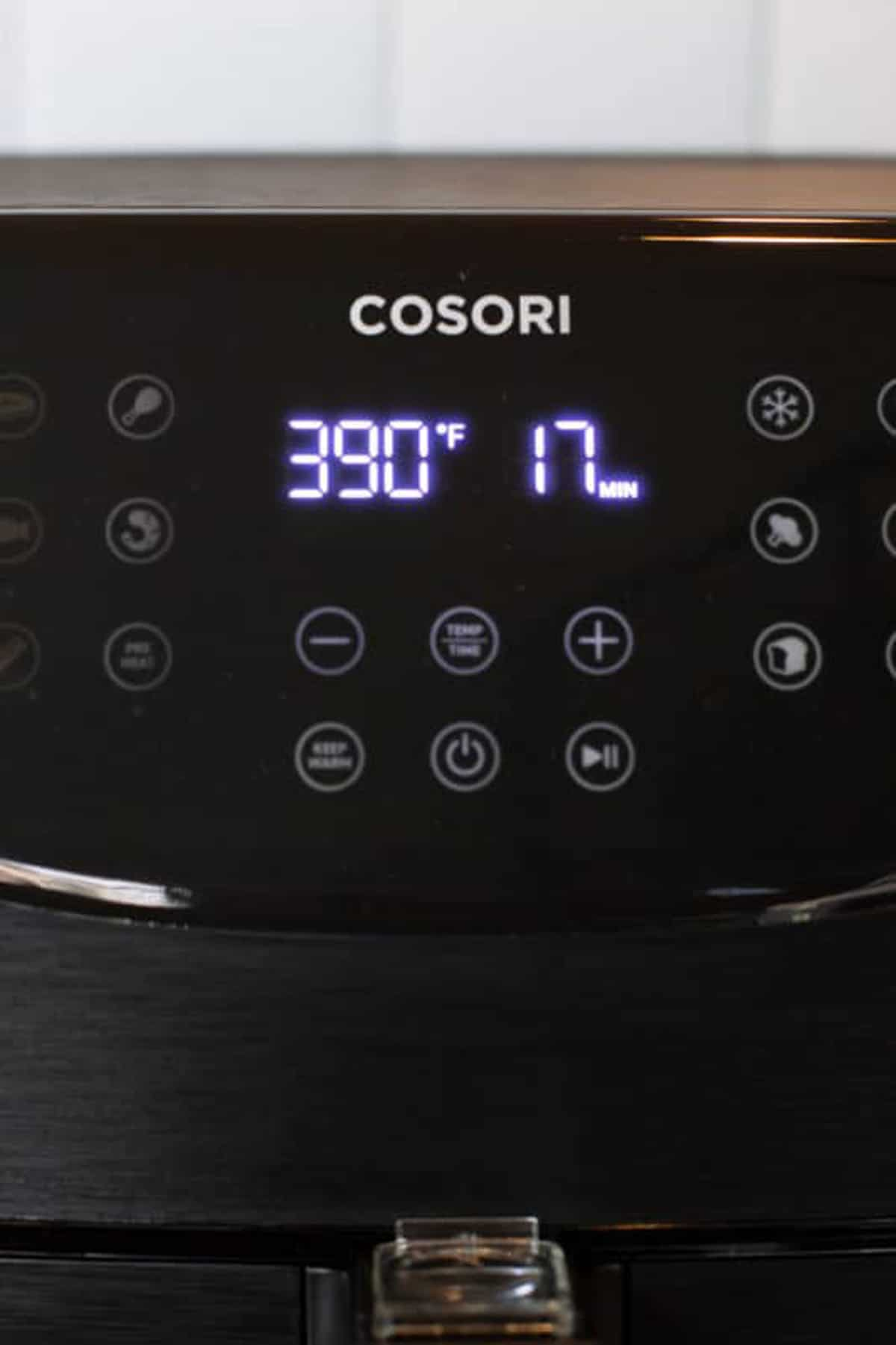 Cosori Air Fryer on a manual setting.
