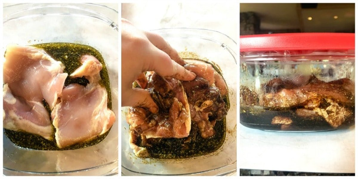 Marinating chicken thighs in olive oil, balsamic vinegar, and spices.