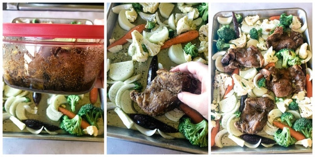 Nestling chicken into vegetables on a half sheet pan.