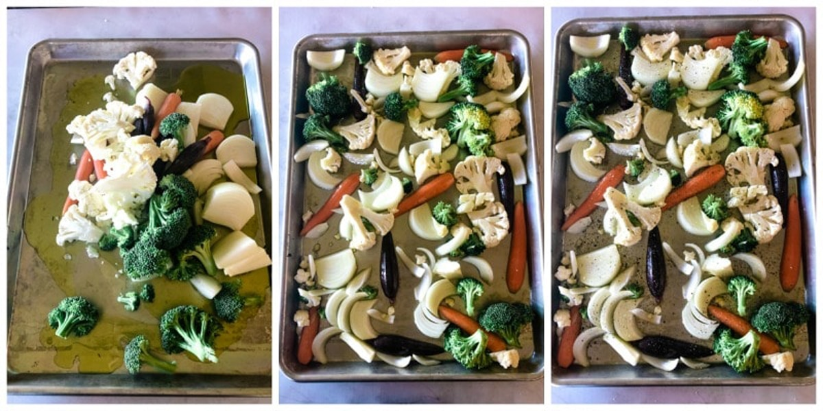 Roasting vegetables with olive oil, salt, and pepper on a sheet pan.