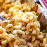 Spoonful of cooked Smoker Macaroni and Cheese