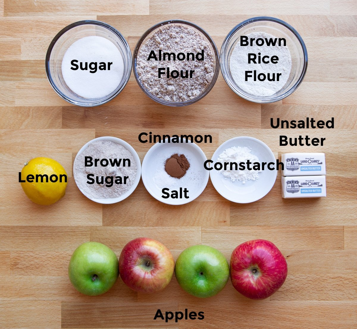 ingredients on a table to make a gluten free apple crumble.