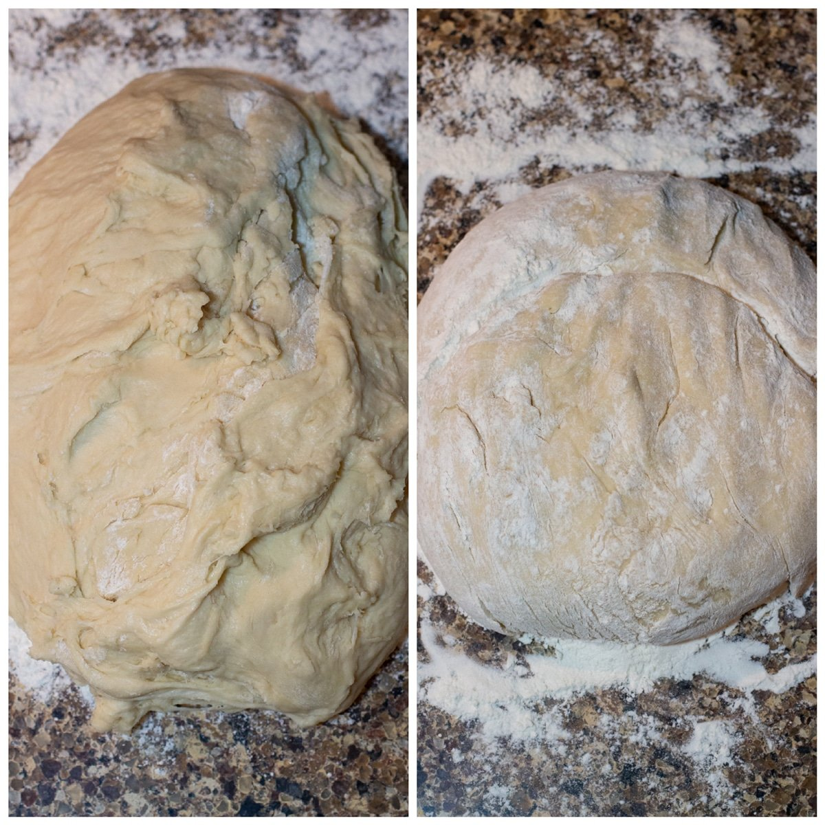 Dough in a ball on the counter.