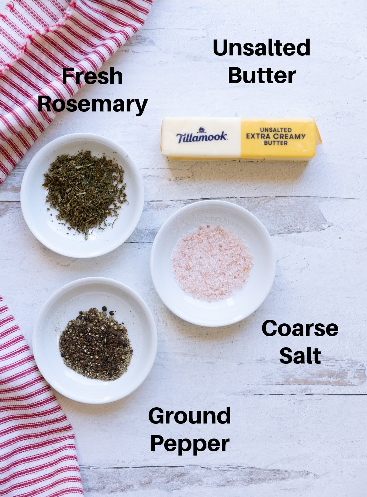 Ingredients on a table to make rosemary flavored butter.