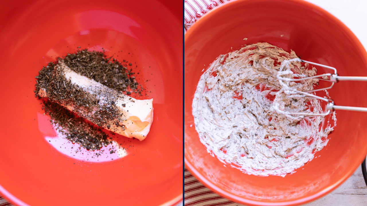 Bowl containing butter, sallt, pepper, and rosemary being mixed with an electric mixer.
