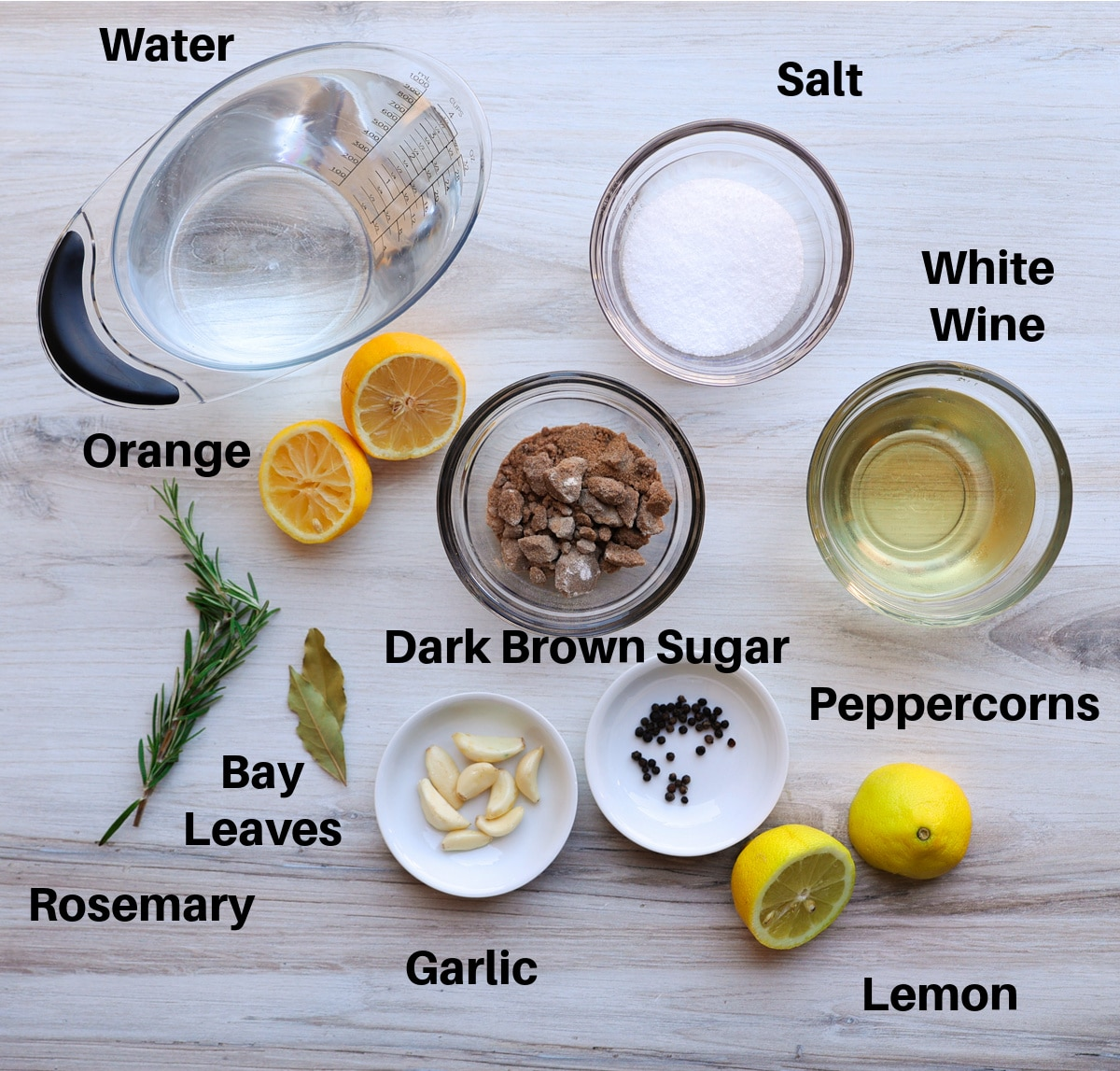 Brine ingredients on a counter.