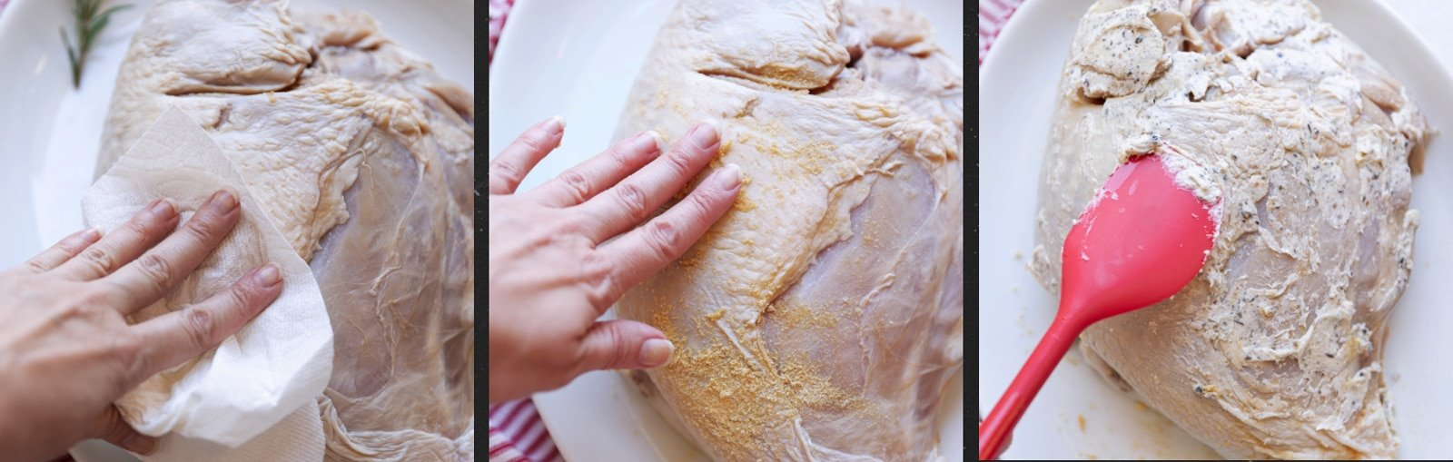 Person patting and applying rub and flavored butter to a raw turkey breast.