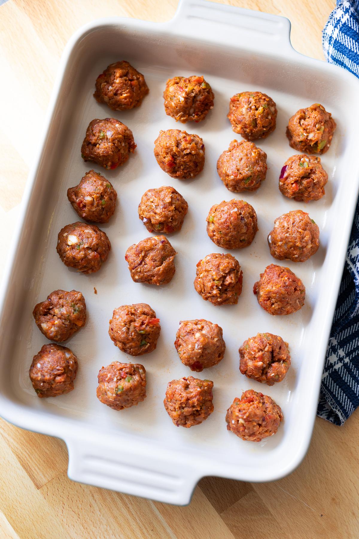 turkey meatballs in a baking dish.