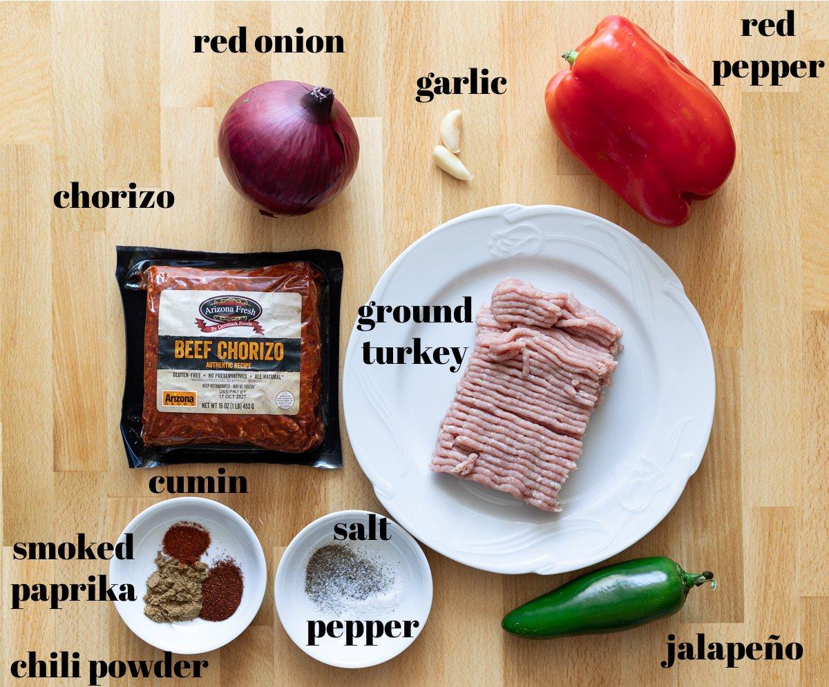 ground turkey, seasonings, vegetables on table.